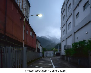 Sukima, between two buildings, scenery with the mountains in Nikko, Japan. 2018