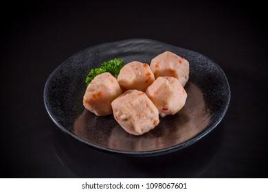 Sukiyaki Asian food, Shrimp balls on black background, Traditional Japanese food, Shabu Shabu Menu
