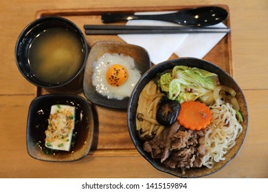 Sukiyaki donburi , sukiyaki hot pot stew with Japanese rice in bowl Japanese food
