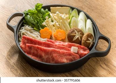 sukiyaki with high-quality Japanese beef
