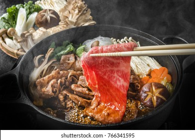 Sukiyaki in the marbled Japanese beef