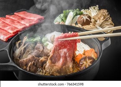 Sukiyaki in the marbled Japanese beef