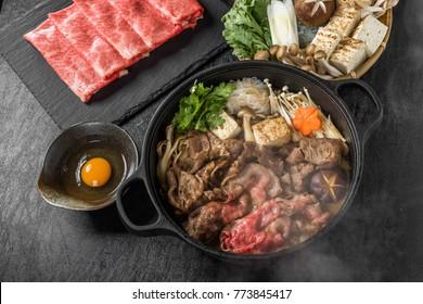 Sukiyaki (pot cuisine of famous Japanese beef