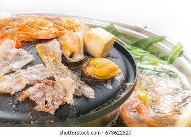 Sukiyaki or Shabu set Beef, meat and mixed vegetables isolated on white backgrounds