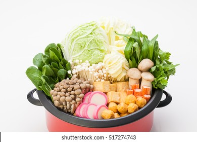 Sukiyaki or Shabu set and mixed vegetables on white backgrounds