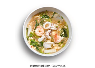 Sukiyaki (Thai Suki) in broth Mixed sea food with vermicelli and vegetables on isolated background. design element.