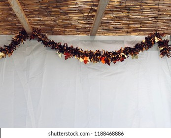 Sukkah fall decoration close up a house sukkot Jewish holiday tradition room for text