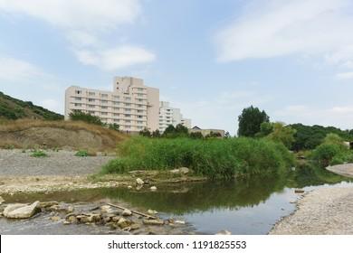 Sukko, Anapa, Krasnodar region, Russia-July 28, 2018: Building of the Golden coast sanatorium at the mouth of the Sukko river. Cloudy summer day at the black sea resort