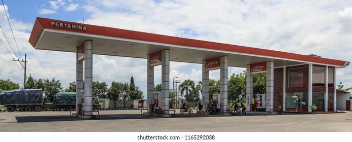 Sukoharjo Regency, Indonesia - February 7, 2015: A Pertamina fuel station.