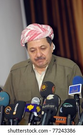 SULAIMANIYA,IRAQ-JANUARY 5:President of Democrate Party Massoud Barzani announced that they will cooperate with Kurdistan Patriots Union at elections on January 5, 2008 in Sulaimaniya,Iraq.