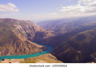 Sulak canyon in Dagestan village