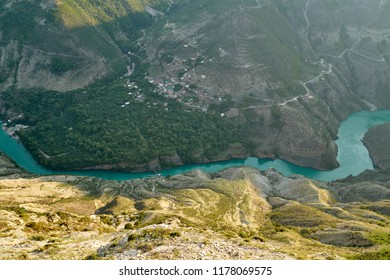 Sulak Canyon and Sulak river, Caucasus Mountains, The Republic of Dagestan, Russia. It is one of the deepest canyons in the world, its peak being 1920 meters above the water level.