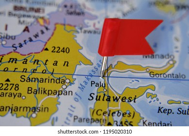 Sulawesi island marked with red flag, Indonesia
