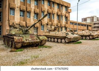Sulaymaniyah, Iraq - January 23, 2016: Tanks in front of Amna Suraka Museum