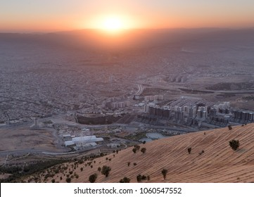 Sulaymaniyah Iraq Kurdistan panoramic view over city. Cityscape middle east Iraq. Kurdistan city at sunset.