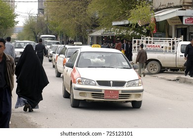 Sulaymaniyah,Iraq - April 04,2006 :Taxis are very common in Kurdistan