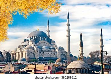 The Suleiman Mosque (Turkish: Suleymaniye Camii), Istanbul, Turkey.