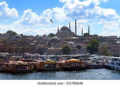 Suleymaniye Mosque (from Galata Bridge) Istanbul Turkey
