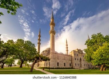 Suleymaniye Mosque on sunrise, Istanbul