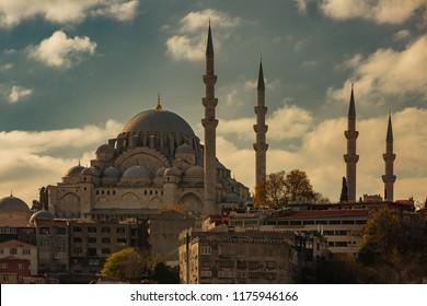 Suleymaniye Mosque from sea in Istanbul Turkey