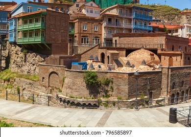 Sulfur baths in the Abanotubani district in the old city of Tbilisi. Bathhouse in Tbilisi, Georgia.