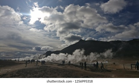Sulfur fields steam in Iceland