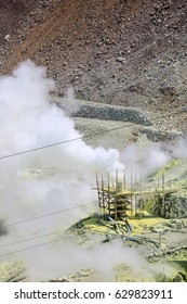 sulfur on the mountain in japan