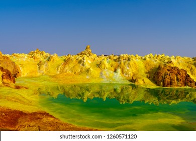 Sulfur Springs in the Danakil Depression near Dallol, Ethiopia cause by volcanic activity