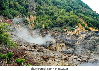 Sulfur springs at a drive in crater at a geothermal site at Soufriere, Saint Lucia