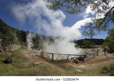 Sulfur volcanic thermal in Furnas, Sao Miguel island, Azores Portugal