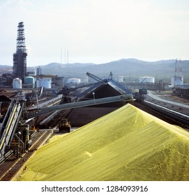 Sulfur yard in the refinery.