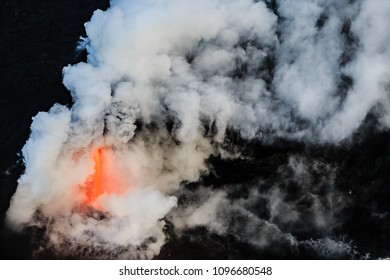 Sulfuric acid rises into the sky from Kilauea volcano
