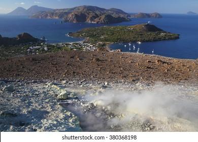 Sulfurous fumaroles, Vulcano, Lipari, Italy