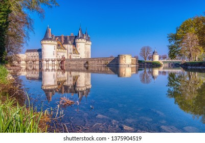 Sully Sur Loire, France - April 14, 2019: Famous medieval castle Sully sur Loire, Loire valley, France. The chateau of Sully sur Loire dates from the end of the 14th century.