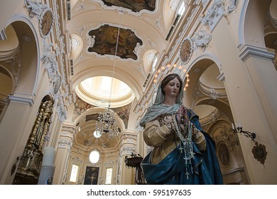 SULMONA, ITALY - FEBRUARY,2017: Virgin Mary statue in Santissima Annunziata church, Sulmona