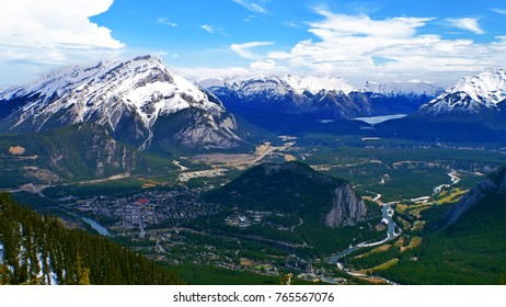 Sulphur Mountain in Banff National Park in the Canadian Rocky Mountains overlooking the town of Banff, Alberta, Canada.