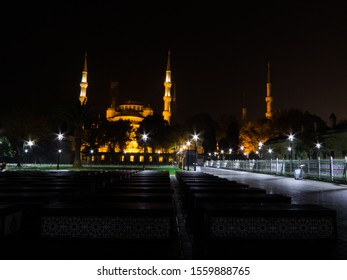 Sultan Ahmed Mosque (or The Blue Mosque) by night. In Istanbul, Turkey
