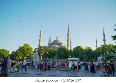 Sultan Ahmed Mosque, Turkey - July 8, 2019 : sultan ahmed mosque exterior in istanbul turkey crowded with the traveller, the biggest mosque in Istanbul of Sultan Ahmed (Ottoman Empire).