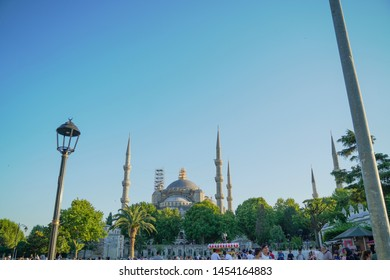 Sultan Ahmed Mosque, Turkey - July 8, 2019 : sultan ahmed mosque exterior in istanbul turkey, the biggest mosque in Istanbul of Sultan Ahmed (Ottoman Empire).
