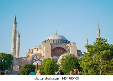 Sultan Ahmed Mosque, Turkey - July 8, 2019 : sultan ahmed mosque exterior in istanbul turkey with the blue sky, the biggest mosque in Istanbul of Sultan Ahmed (Ottoman Empire).