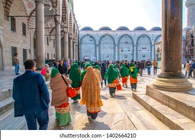 Sultan Ahmet cami     Istanbul Turkey – April 04, 2019: The Blue Mosque, (Sultanahmet Camii) and Woman tourist , Istanbul