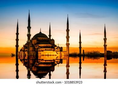 Sultan Ahmet Camii named Blue Mosque turkish islamic landmark with six minarets, main attraction of the city.Istanbul, Turkey.