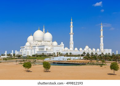 Sultan Bin Zayed Grand Mosque in Abu Dhabi from outside