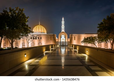 Sultan Qaboos Grand Mosque in Muscat at night