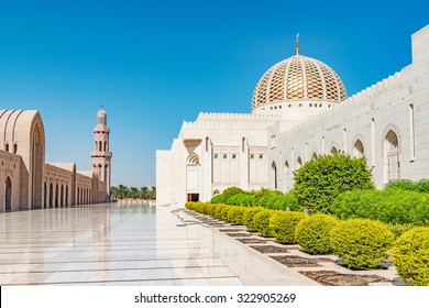 Sultan Qaboos Grand Mosque in Muscat, Oman. Its construction finished in 2001.