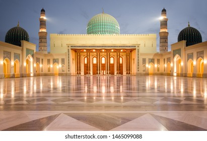 Sultan Qaboos Mosque in Sohar after sunset, Oman