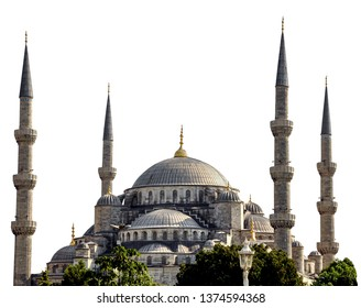 Sultanahmet camii or Sultan Ahmet camii (Blue Mosque, Istanbul - Turkey) isolated on white background