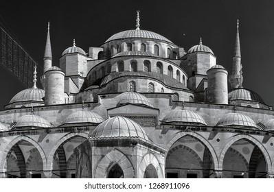 sultanahmet holy mosque cami camii minaret infrared photo domes