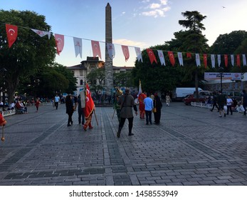 Sultanahmet, Istanbul, Turkey - May 25, 2019: Musicians of Mehter which is Ottoman military band are walking in Sultanahmet Square.