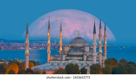 """The Sultanahmet Mosque (Blue Mosque) with full moon - Istanbul, Turkey """"Elements of this image furnished by NASA"""""""
